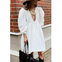 Leisure Womens Blouse Dress Solid Color V Neck Long Puff Sleeves Relaxed Fit Blouse Dress