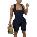 Unique Womens Romper Solid Color Rib Knit Stretch Scoop Neck Slim Fitted Sleeveless Bottoming Romper