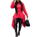 Creative Womens Jacket Plain High-Low Hem Hooded Mid-Length Slim Fit Long Sleeve Casual Jacket with Pockets