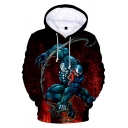 Cool 3D Pattern Loose Fit Long Sleeve Sport Casual Pullover Red Hoodie