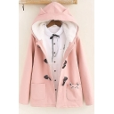 Novelty Womens Coat Cat Embroidered Pocket Ear-Hood Thickened Toggle Button up Loose Fit Long Sleeve Parka