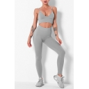 Fancy Womens Yoga Set Solid Color Spaghetti Strap V Neck Sleeveless Cropped Top with High Waist Skinny Pants Active Set