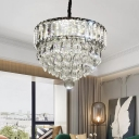 Modern Round/Square Tiered Pendant Lamp Clear Crystal Living Room LED Hanging Light in Stainless Steel