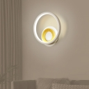 Dual-Ring Wall Light Sconce Nordic Metallic White and Wood LED Wall Mounted Lamp in Warm/White Light