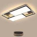 Acrylic Square/Rectangle Flush Mount Light Modern Black/Grey Surface Mounted LED Ceiling Lamp in Warm/White Light