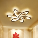 Windmill Living Room Semi Flush Light Acrylic 6/12 Bulbs Modern Style LED Ceiling Mounted Lamp in Warm/White Light