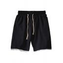 Cool Mens Shorts Contrast Hem False Two Pieces Knee-Length Drawstring Waist Regular Fitted Sport Shorts