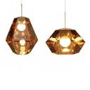 Faceted Gemstone Hanging Lamp Postmodern Silver/Gold Glass 1 Head Kitchen Bar Down Lighting Pendant