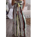 Stylish Fancy Red Sleeveless Strapless Bow Tie Front Stripe Pattern Long Wide-Leg Jumpsuit for Women