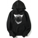 New Arrival Fashion Big Mouth Pattern Long Sleeve Black Leisure Hoodie