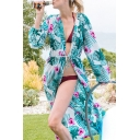 Womens Jacket Casual Floral Leaf Pattern Drawstring Waist Quick-Dry Open Front Long Sleeve Longer Length Loose Fitted Cover-up Beach Jacket