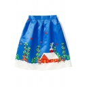 New Fashion High Waist Digital Christmas Pattern Midi Flared Skirt