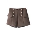 Basic Womens Shorts Solid Color Double Breasted Pocket Flap Decoration High Rise Regular Fitted A-Line Relaxed Shorts