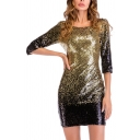 Creative Womens Dress Ombre Color Sequin Decoration 3/4 Sleeve Mini Slim Fitted Round Neck Bodycon Dress
