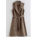 Vintage Womens Trench Coat Plain Suede Tie-Waist Notched Lapel Collar Regular Fit Sleeveless Mid-Length Trench Coat