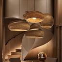 Brown Saucer/Hat/Vase Hanging Lamp Kit Rural 1 Head Corrugated Paper Pendant Ceiling Light for Living Room