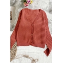 Popular Women's Cardigan Plain Rib Knitted Button-down Long-sleeved Regular Fitted Cardigan