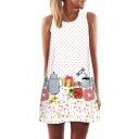 Womens 3D Dress Stylish Polka Dot Cup Gift Candy Flower Butterfly Print Sleeveless Mini Regular Fitted Round Neck Swing Dress