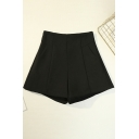 Unique Womens Shorts Solid Color Stretch Invisible Zipper Detail High Rise Regular Fitted A-Line Relaxed Shorts