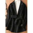 Womens Coat Simple Contrast Topstitching Tie-Waist Double Pockets Front Notched Lapel Collar Loose Fit Long Sleeve Wool Coat