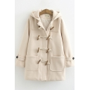 Fancy Women Coat Solid Color Front Pockets Horn Button Hooded Long Sleeves Loose Fitted Coat