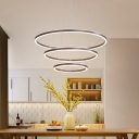 2/3/4 Tiers Tapered Kitchen Bar Pendant Acrylic Minimalistic LED Chandelier Lighting in Brown