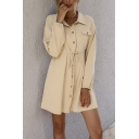 Fashionable Womens Shirt Dress Solid Color Chest Pocket Button Closure Drawstring Waist Banded Hem Spread Collar Long Sleeves Regular Fitted Shirt Dress