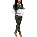 Novelty Womens Co-ords Contrast Camo Panel 1/4 Zip Kanga Pocket Long Sleeve Jacket Slim Fitted Pants Co-ords