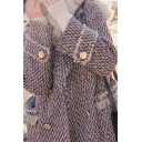 Trendy Womens Woolen Coat Zigzag Stitch Knitted Pattern Tassel Detailed Double Breasted Notched Collar Long Sleeves Regular Fitted Woolen Coat