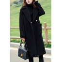 Fancy Womens Coat Plain Big Pockets Double Breasted Notched Collar Long Sleeves Regular Fitted Woolen Coat
