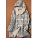 Womens Coat Trendy Plaid Pattern Flap Pockets Double-Sided Woollen Toggle-Button Loose Fit Long Sleeve Hooded Mid-Length Wool Coat