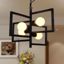 4-Head Pendant Lighting Vintage Square Frame Iron Chandelier with Exposed Bulb Design in Black