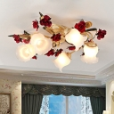 3/5 Lights Bell Flower Semi Flush Chandelier Pastoral White Frosted Glass Ceiling Lamp with Red Rose Decoration