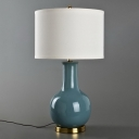 Ceramics Vase Night Table Lamp Modern Single White/Blue/Red Nightstand Light with Drum Fabric Lampshade