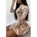 Creative Womens Dress Abstract Painting See-Through Mesh Mini Slim Fitted Mock Neck Long Sleeve Bodycon Dress