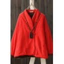 Basic Womens Jacket Solid Color Frog Button Detail Long Sleeve Loose Fit Padded Cheongsam-Jacket