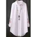 Womens Shirt Chic Floral Embroidered Curved Hem Button up Turn-down Collar Tunic Loose Fit Long Sleeve Shirt