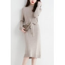Leisure Women's Sweater Dress Contrast Panel Rib Knitted Mock Neck Long-sleeved Slim Fitted Midi Sweater Dress with Belt