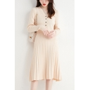 Trendy Women's Sweater Dress Pleated Button Detailed Ruffles Lace Trim Patchwork Long Sleeves Regular Fitted Midi Sweater Dress