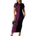 Retro Womens Dress Leopard Skin Pattern Two Tone Panel Maxi Slim Fitted Round Neck Short Sleeve Bodycon Dress