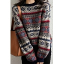 Ethnic Women's Long Sleeve Crew Neck Floral Printed Baggy Purl Knit Pullover Sweater Top in Brown