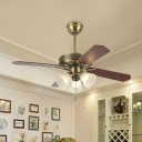 Cone Bedroom Semi Flush Mount Lighting Rural Frosted Glass 3-Bulb Gold Pull Chain Hanging Fan Light with 4 Blades, 42