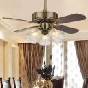 Clear Carved Glass Gold Ceiling Fan Lamp Bell 36