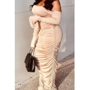 Creative Womens Co-ords Plain Ruched Detail Slim Fitted Maxi Bodycon Skirt Tie Backless off Shoulder Long Sleeve Tee Co-ords