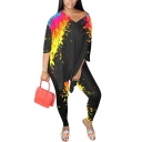 Trendy Women's Set Graffiti Pattern V Neck Mid Sleeves Relaxed Fit Tee Top with Long Pants Co-ords