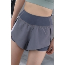 Womens Shorts Stylish Pockets 2-in-1 Thin Quick Dry Elastic Waist Regular Fitted Sport Shorts