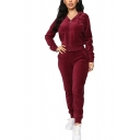 Unique Womens Co-ords Plain Velvet Gathered Cuffs Slim Fitted 7/8 Length Pants Zipper down Long Sleeve Hooded Jacket Jogger Co-ords