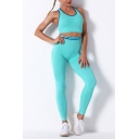 Sporty Womens Active Set Contrast Stitching Crew Neck Sleeveless Slim Fitted Crop Top with High Rise Skinny Pants Workout Co-ords