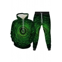 Retro Mens Co-ords Colored Spiral Geometric Pattern 3D Slim Fitted 7/8 Length Tapered Pants Long Sleeve Hoodie Jogger Co-ords