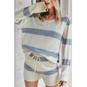 Leisure Women's Co-ords Stripe Pattern Round Neck Long Sleeves Regular Fit Knit Top with Drawstring Waist Short Set
